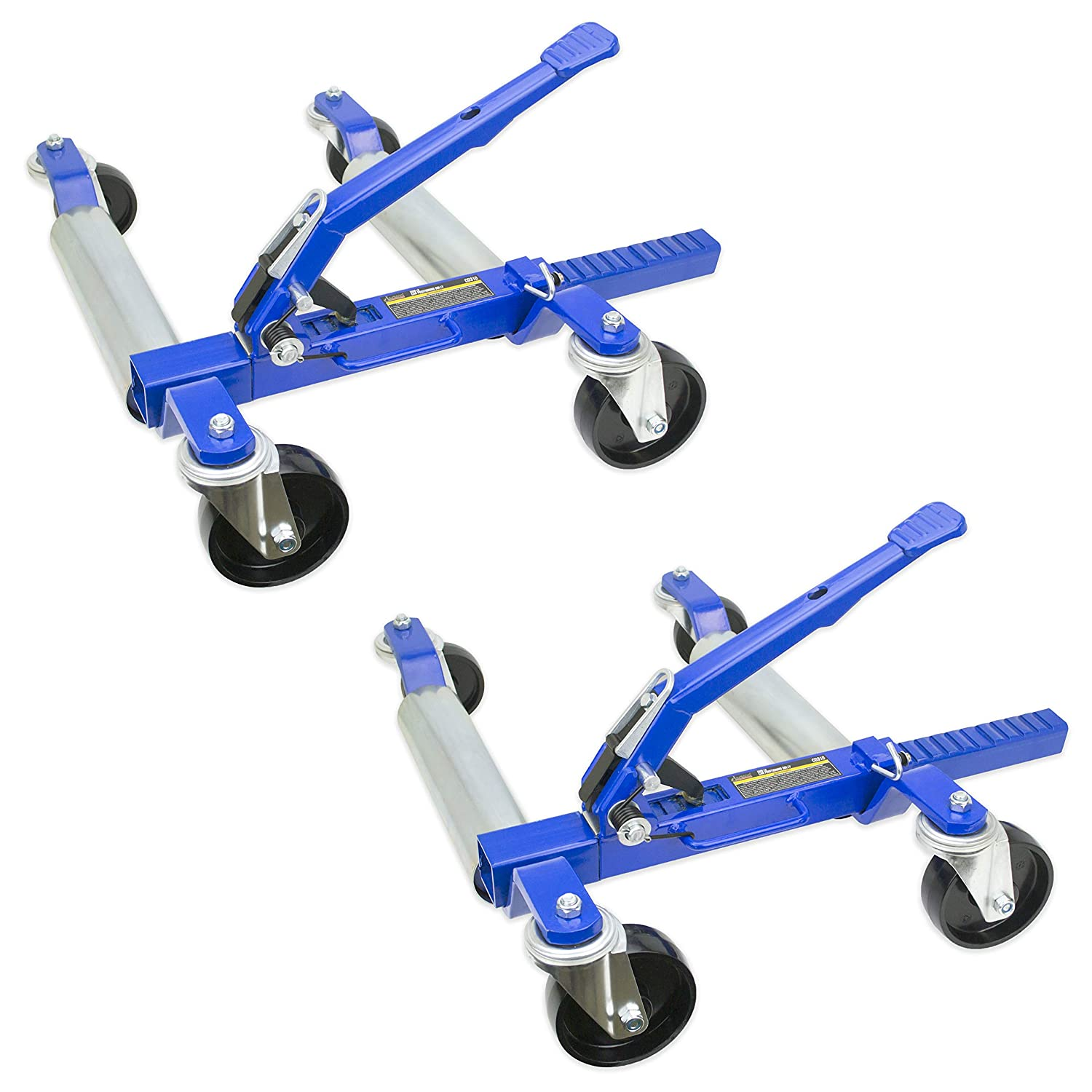 """Jackco 1500 LB 12.5/"""" Wheel Car Positioning Dolly with Ratcheting Foot Pedal 2 Pack"""