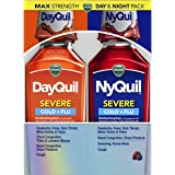 Vicks DayQuil and NyQuil SEVERE, Liquid Cough, Cold and Flu Relief, Sore Throat, Fever, and Congestion Relief, Day and Night