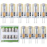 Liqoo® 10 x G4 3W LED Ampoule Lampe Spot Light Silicone DC / AC 12V Super Mini Facile à Installer Luminaire de 220 Lumen Blanc Chaud Equivalente Lampe à Incandescente de 20W