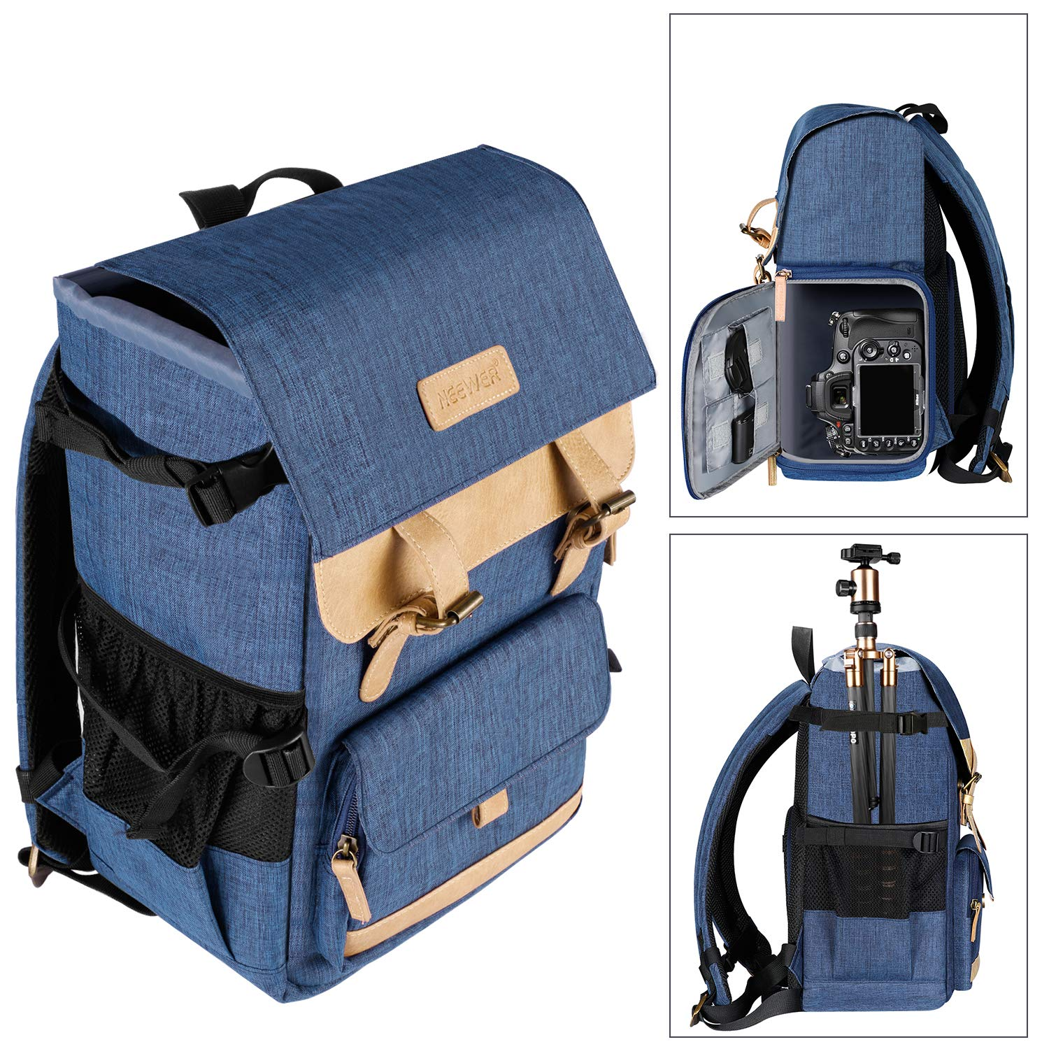 Neewer Multi-Functional Leisure Camera Backpack 10.8x8.3x16 inches/27.5x21x41 centimeters Polyester Waterproof Photography Equipment Travel Case Bag for Tripod, Canon Nikon Sony DSLR Cameras 10092984