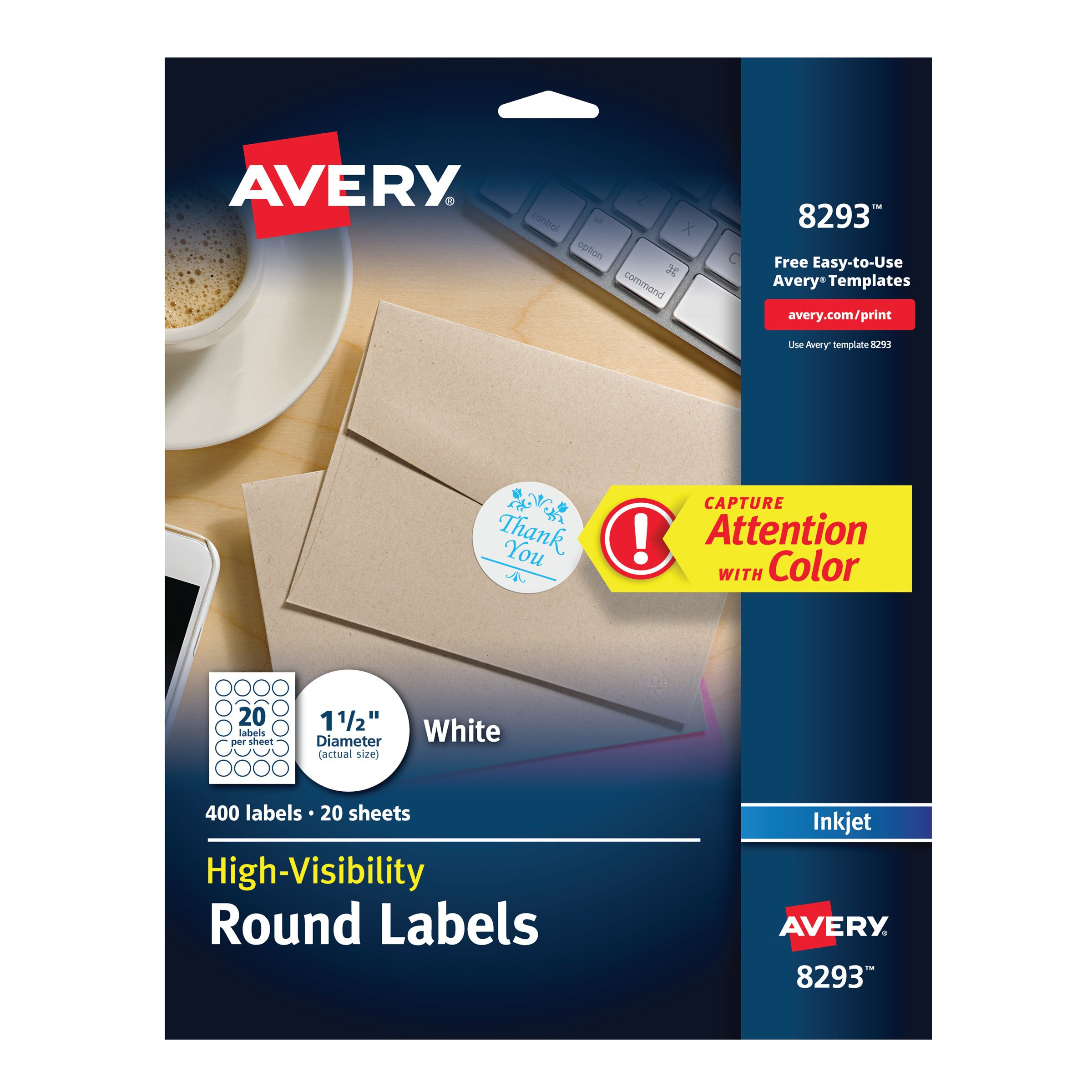 Avery High-Visibility 1.5'' Round Labels, Personalize Your Pop Socket Phone Holder, 400 Pack (8293)