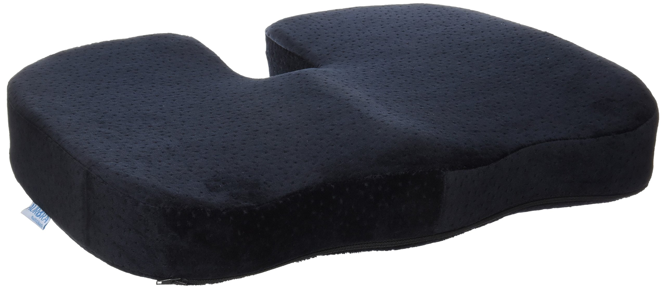 Aurora Health & Beauty Black Memory Foam Coccyx Cushion Orthopedically Designed for Back Tailbone & Sciatica Pain Relief