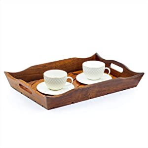 Handcrafted Rosewood Heavy Large Wooden Serving Trays Set of 3   Kitchen Home Decor Dinner Platters   Nagina International