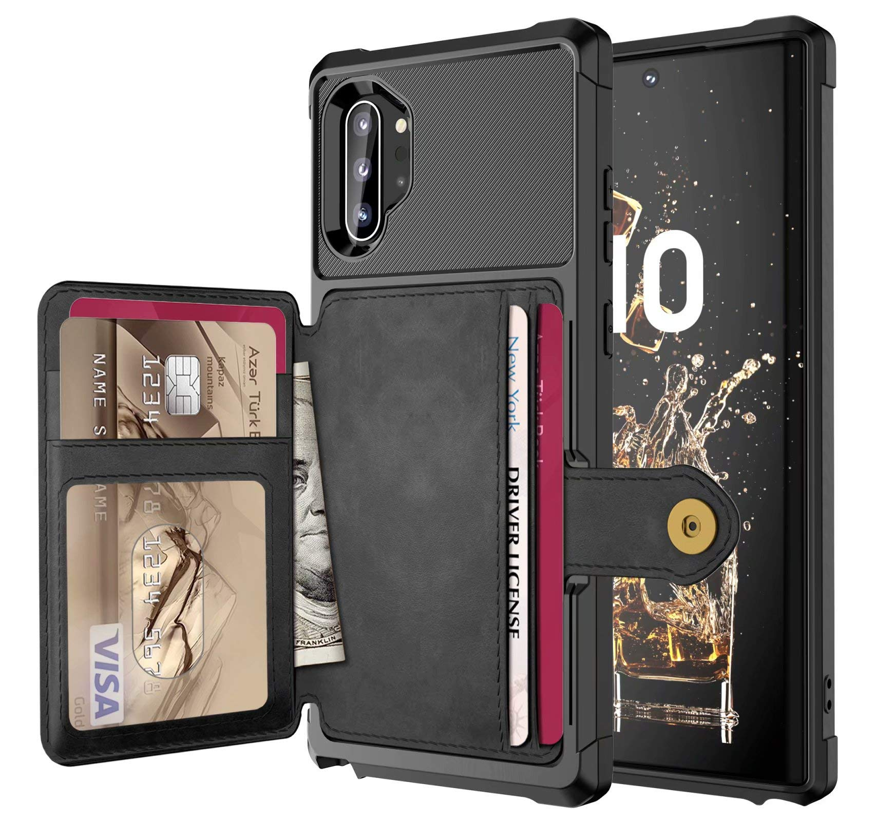 Galaxy Note 10 Plus Case, Ranyi Full Body Protective Magnetic Absorption Wallet Case with Credit Card Holder Slots Shock Absorbing Flip Wallet Case for Samsung Galaxy Note 10 Plus/Pro/5G (Black) by Ranyi