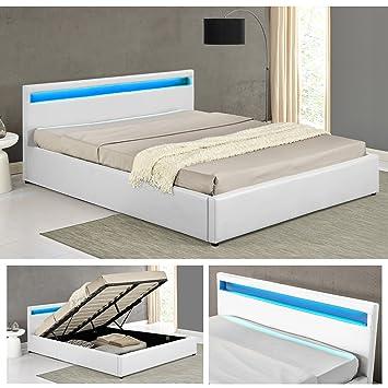 OHIO Weiss LED Doppelbett Polsterbett Gasdruckfeder Bett Lattenrost  Kunstleder (140 X 200cm)