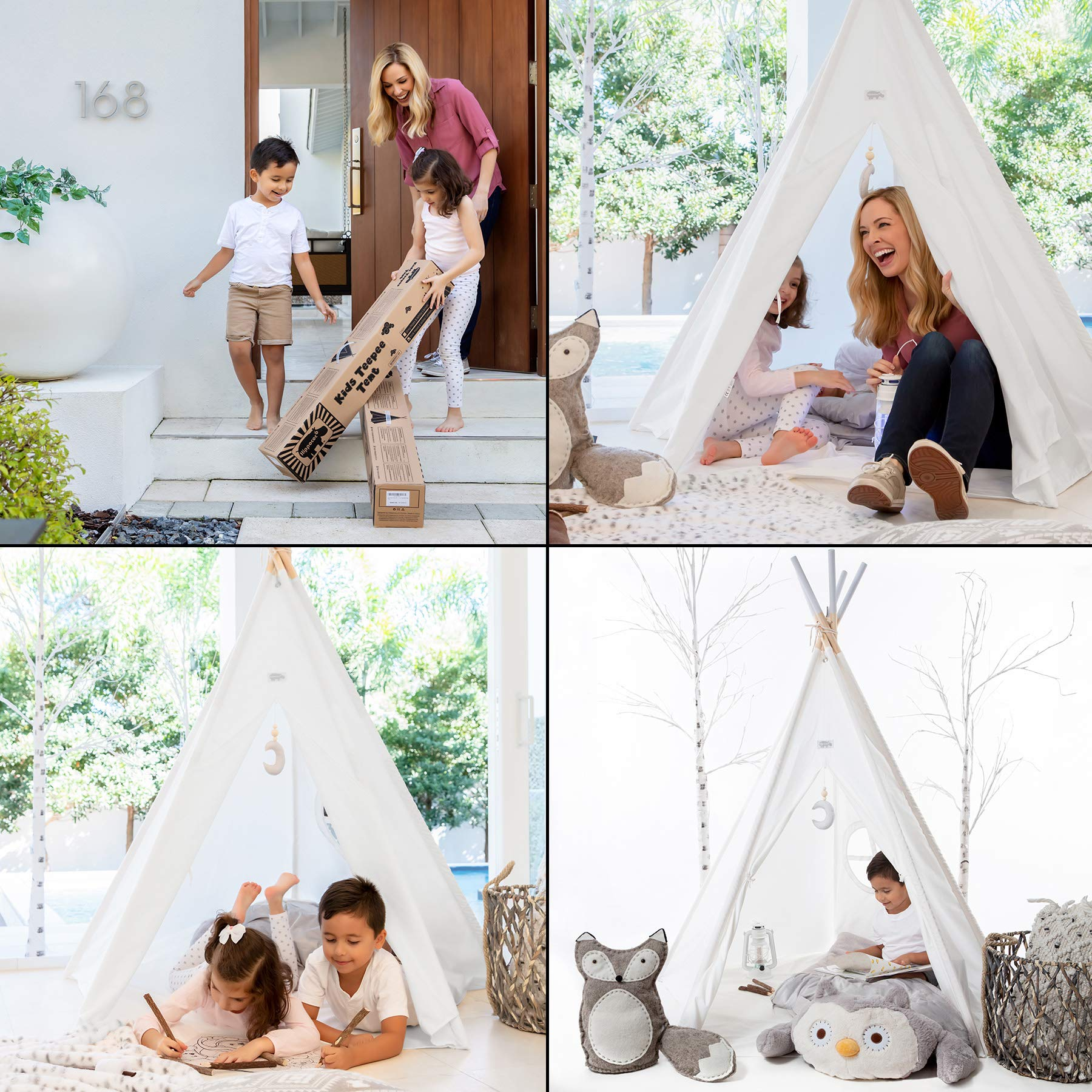 Hippococo Teepee Tent for Kids: Large Sturdy Quality 5 Poles Play House Foldable Indoor Outdoor Tipi Tents, True White Canvas, Floor Mat, Grey Moon Accessory, Family Fun Crafts eBook Included (Grey) by Hippococo (Image #3)