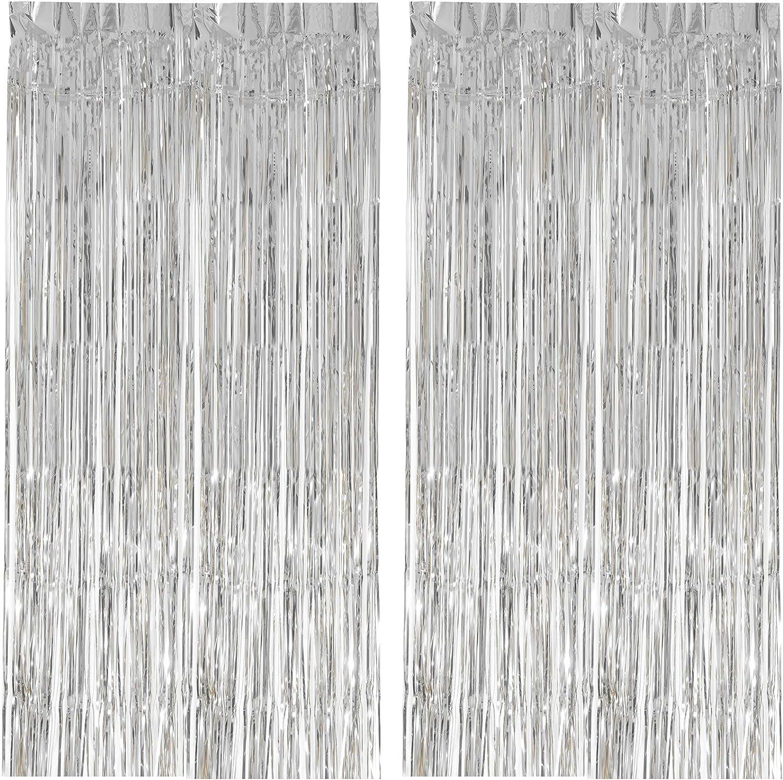EKKONG 2pcs Cortinas Brillante,Cortinas Metálica,Flecos metálicos Brillantes de Metálico,Cortinas de Flecos de lámina metálica,para Decoración de la Boda del Partido (Plata)