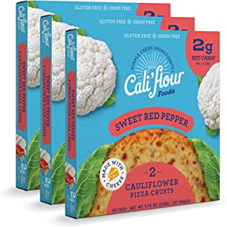 product image for Cali'flour Foods Pizza Crust (Sweet Red Pepper, 3 Boxes, 6 Crusts) - Fresh Cauliflower Base | Low Carb, High Protein, Gluten and Grain Free | Keto Friendly