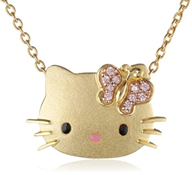 Amazon hello kitty butterfly kitty gold plated with swarovski hello kitty quotbutterfly kittyquot gold plated with swarovski outline pendant necklace mozeypictures Image collections