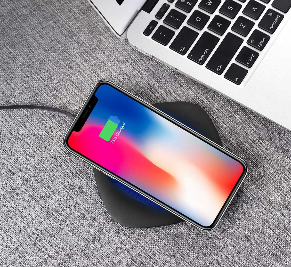 NO AC Adapter IPhone Wireless Charger 7.5W【Ultra-Slim】Fast-Charging pad station for iPhone X,iPhone 8//8 Plus,10W Qi-Certified Fast Charger for Samsung S7//S8//S8+//S9 Galaxy S7//S7 Edge//Note 8