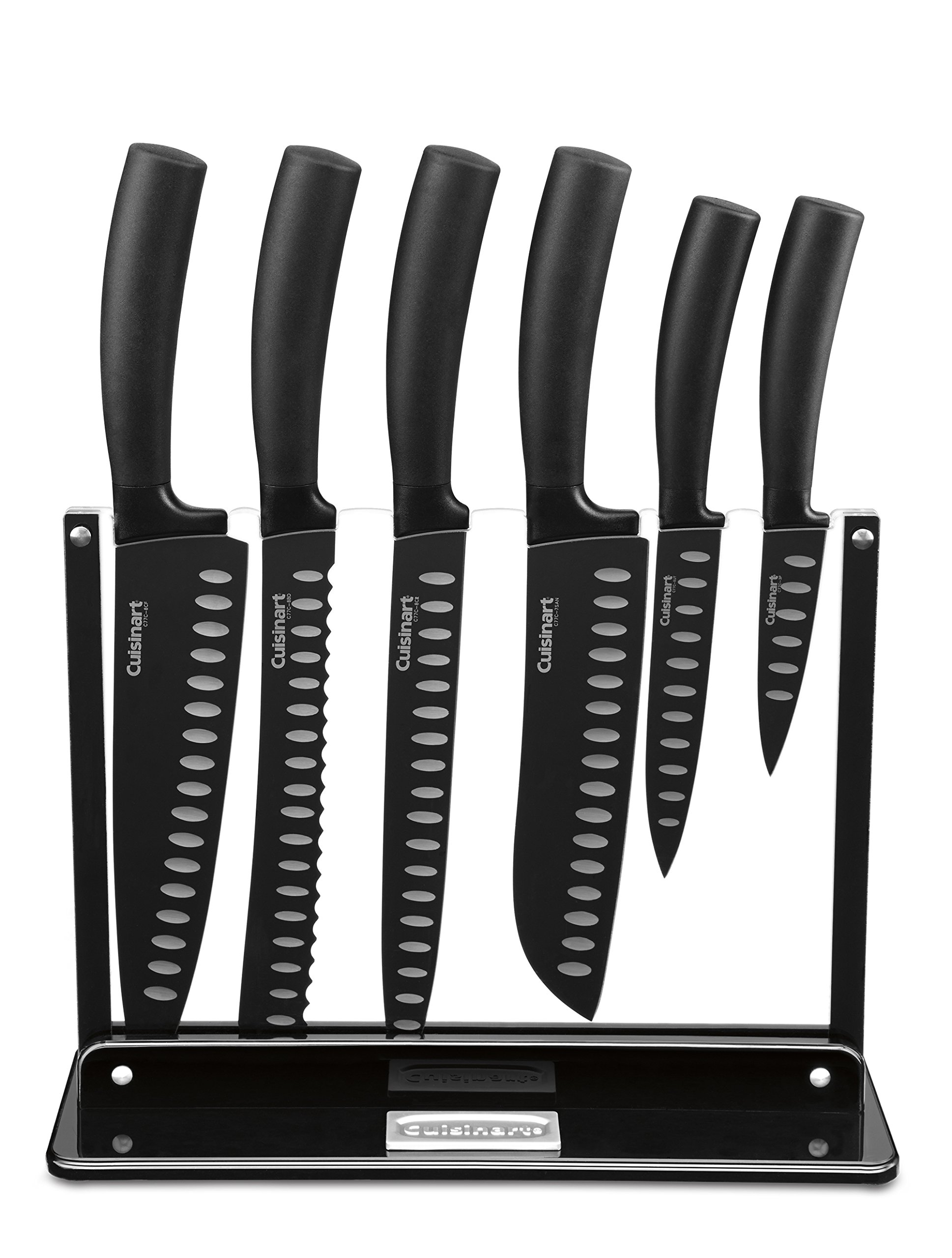 Cuisinart C77NS-7P Classic Nonstick Edge Collection 7-Piece Cutlery Knife Set with Acrylic Stand, Black by Cuisinart
