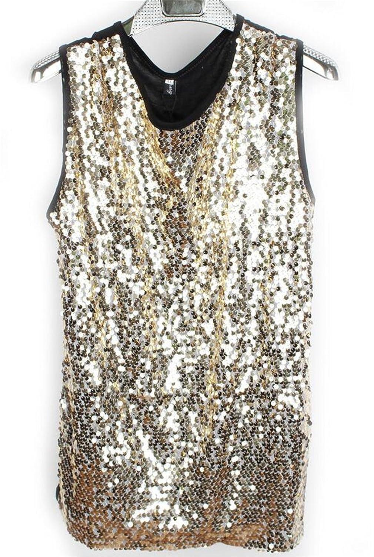 Nanquan-men clothes NQ Mens Shiny Sequins Tank Tops Sleeveless Premium Party Club T-Shirt