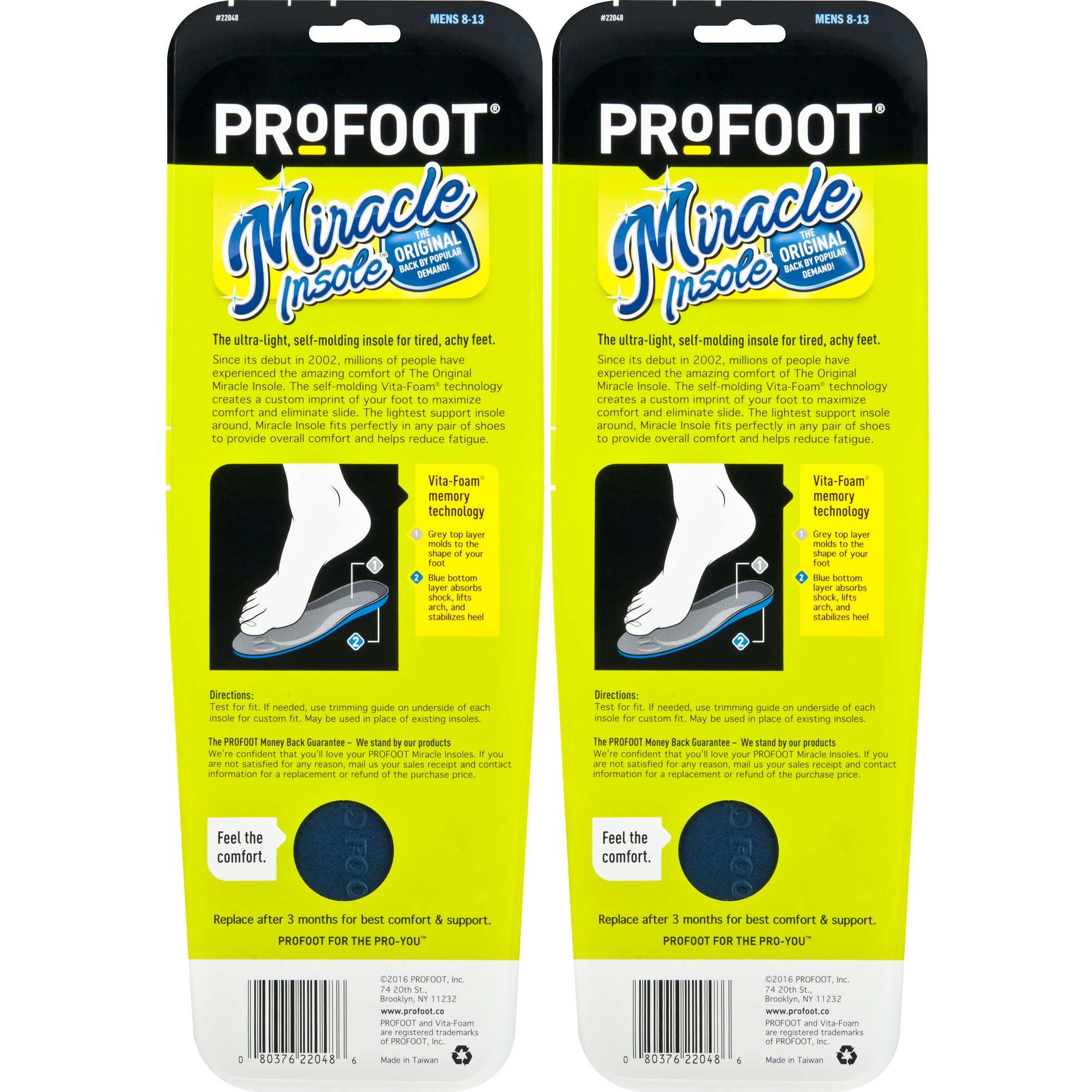 PROFOOT Original Miracle Insole, Men's 8-13, 2 Pair, 2-Layer Lightweight Insole with Memory-Foam Technology for Relief from Sore Feet and Aching Heels from Walking, Standing, Hiking by Profoot (Image #2)