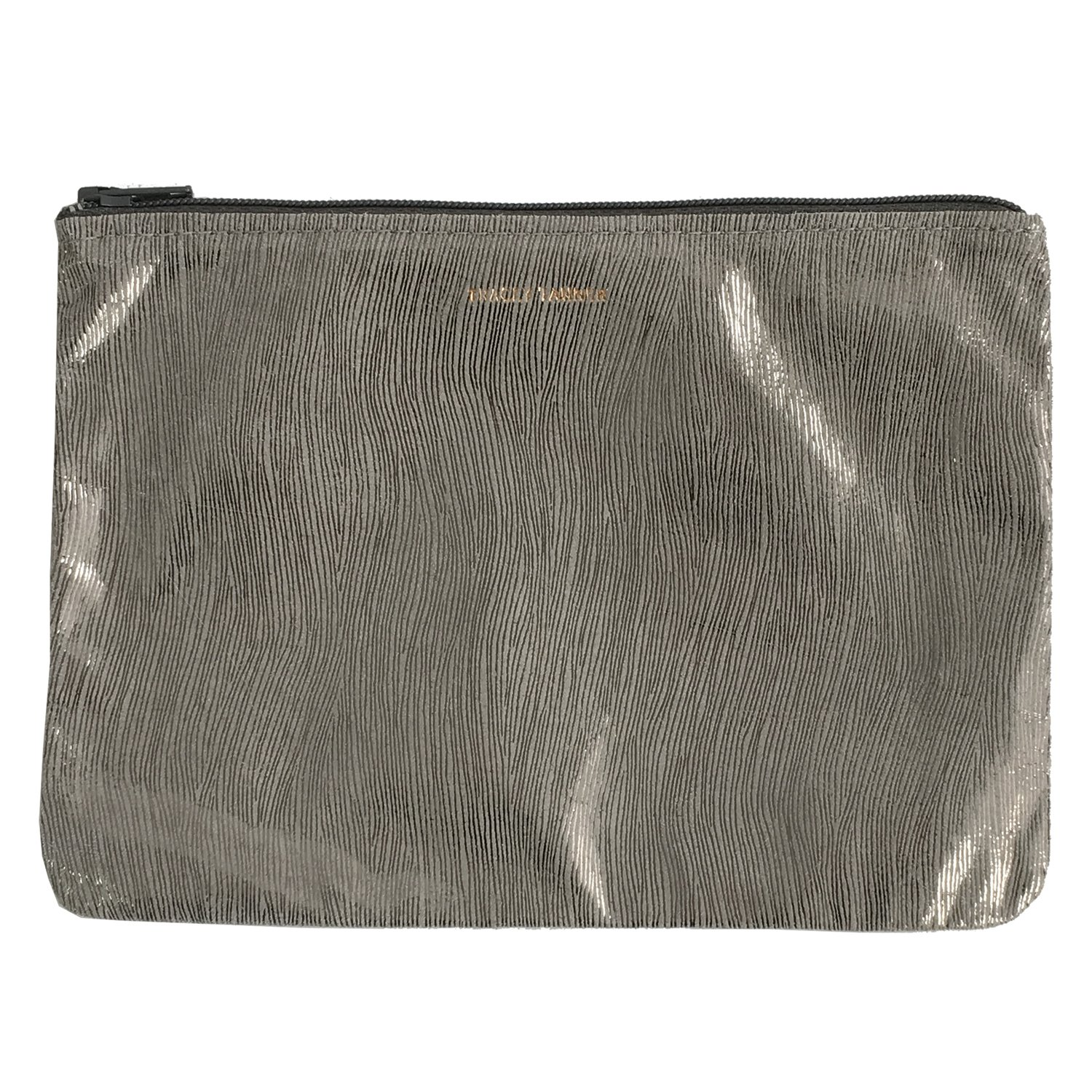 Tracey Tanner Medium Zipper Top Pouch - Grey Smoke Streaks