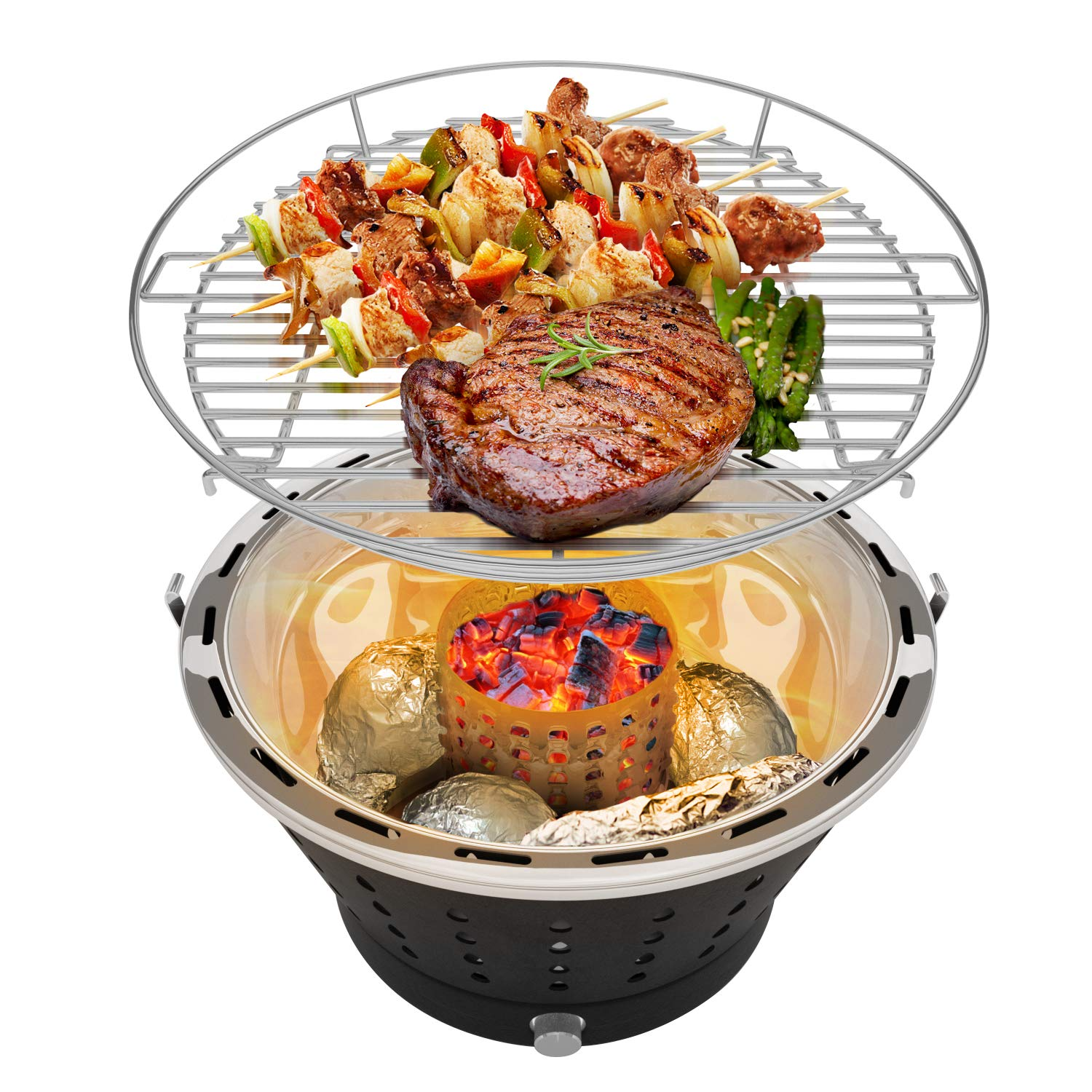 UNICOOK Portable Smokeless Charcoal Grill, Stainless Steel BBQ Grill with Carry Bag, Perfect for Camping, Picnic, Battery Powered Fan, Black