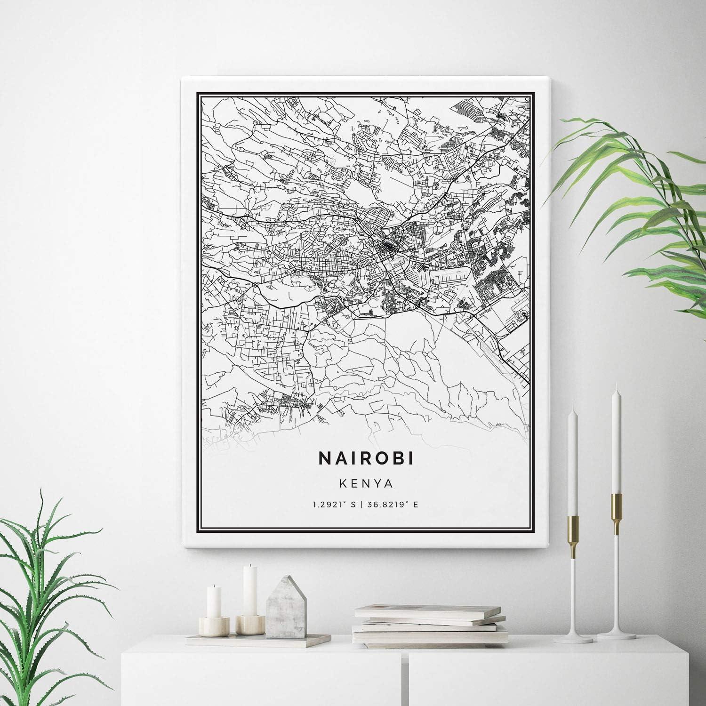 Some reservation Squareious Nairobi Map Canvas Print City Kenya Wall Maps Art Max 46% OFF G