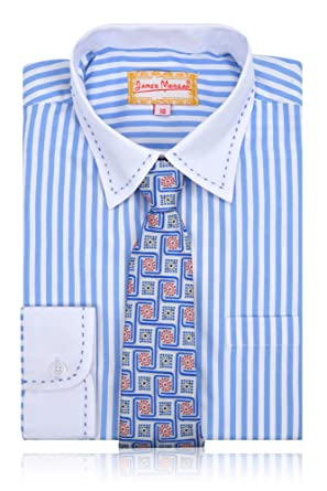 9eae17487864d0 JAMES MORGAN Boys Polka Dot Dress Shirt with Curated Tie Clothing, Shoes &  Jewelry Sizes 4-7