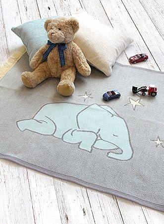 Wonderful Blue and Grey Boys Nursery Rug, Elephant Rugs Playmats for Nursery  QV34