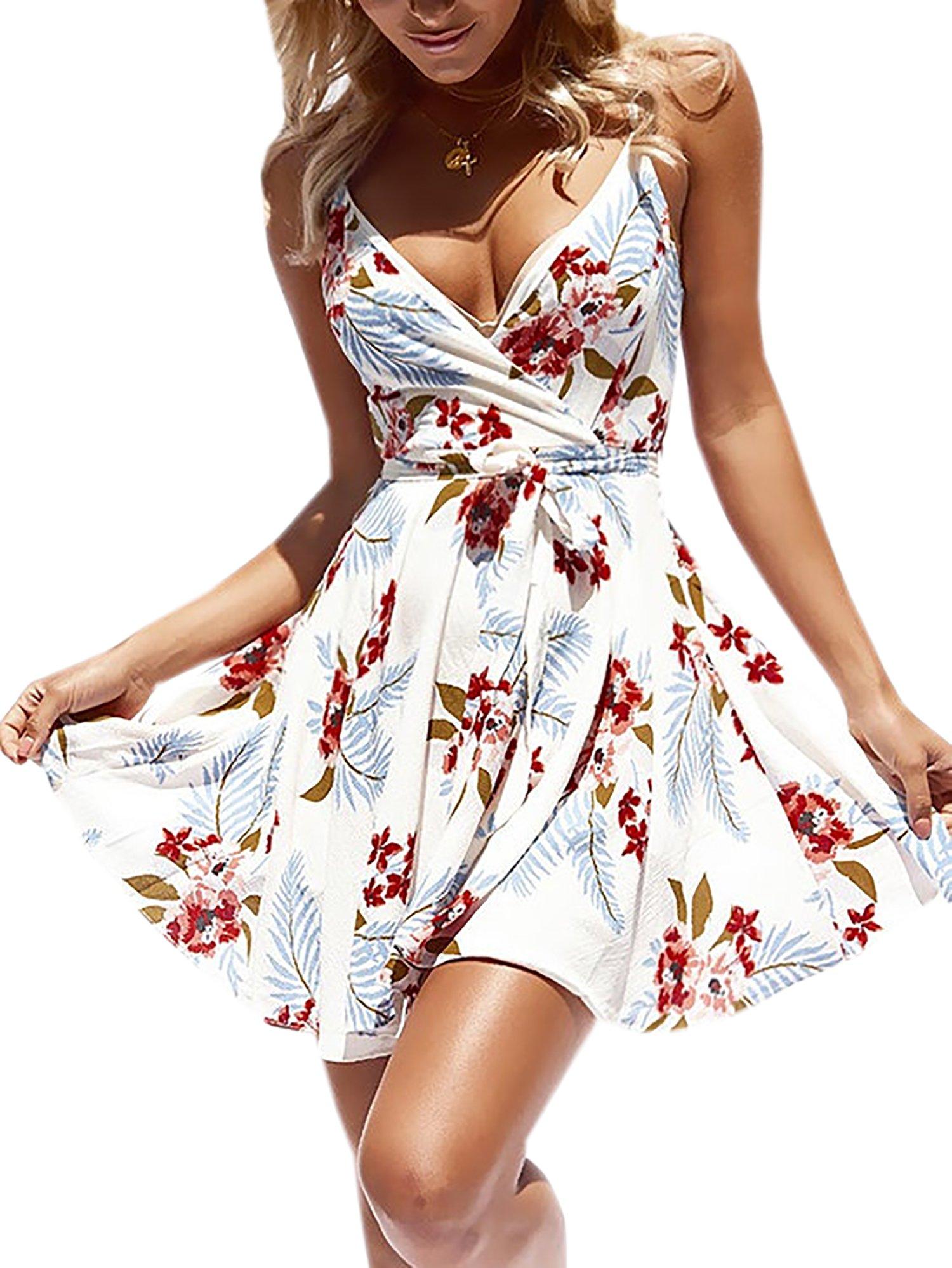 ECOWISH Womens Dresses Summer Floral Print V-Neck Spaghetti Strap Mini Swing Skater Dress with Belt White S