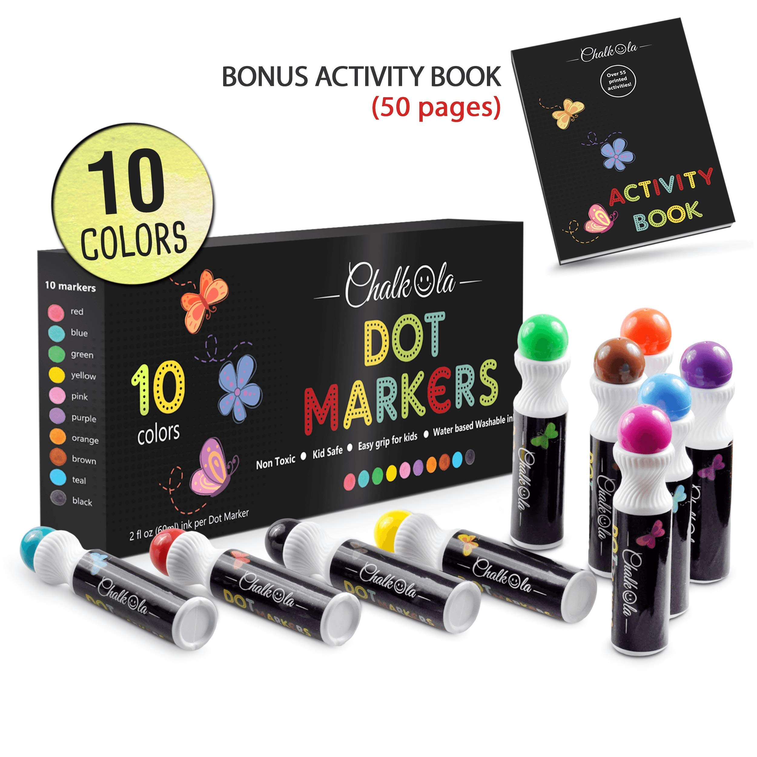 Washable Dot Markers for Kids with Free Activity Book | Large 10 Colors Set | Water-Based Non Toxic Paint Daubers | Dab Marker Kit for Toddlers & Preschoolers | Fun Art Supplies by Chalkola