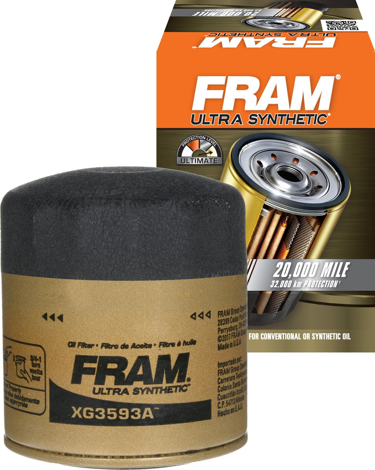 Amazon.com: FRAM XG3593A Ultra Synthetic Spin-On Oil Filter with Sure Grip:  Automotive