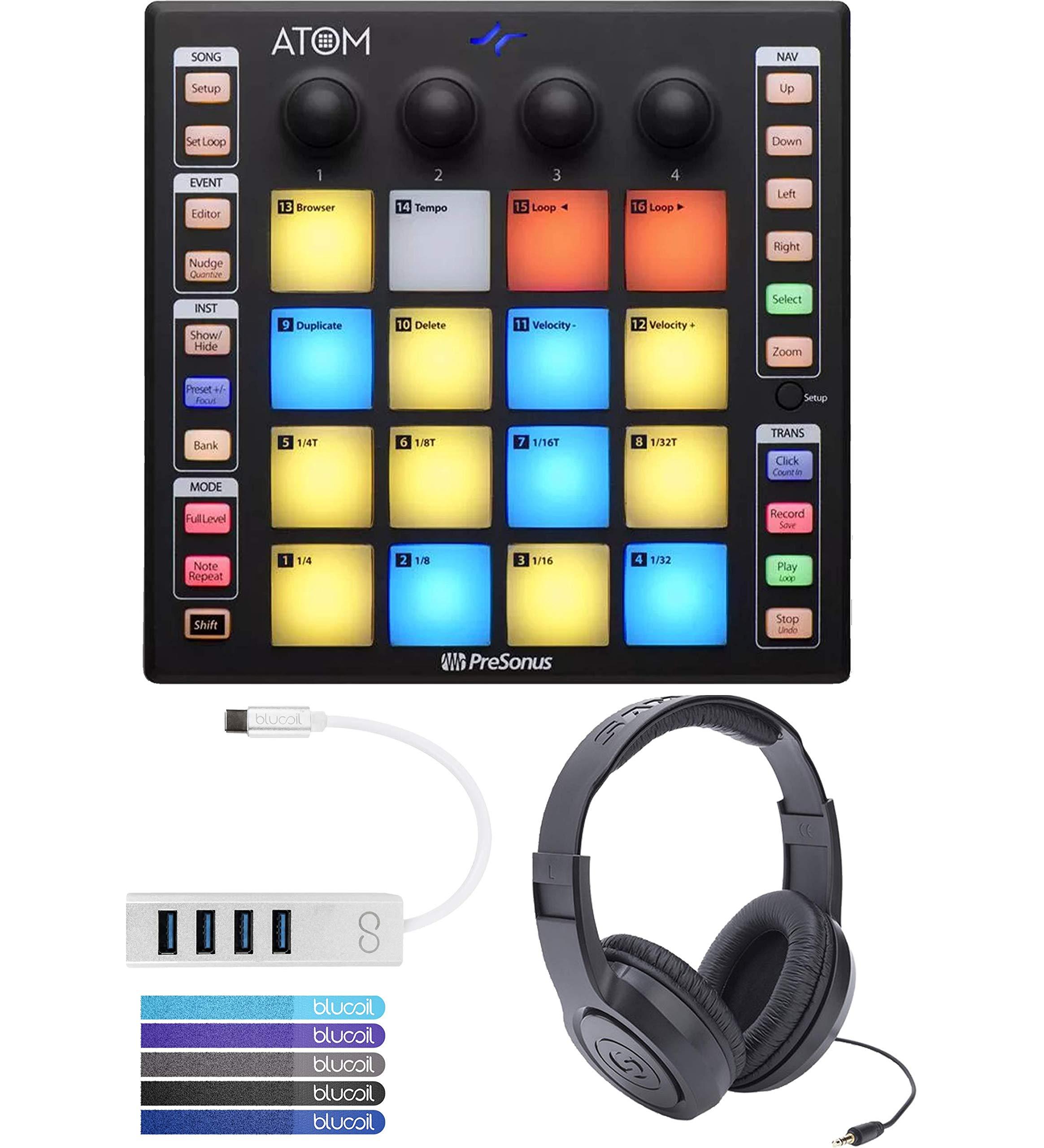 PreSonus ATOM Music Production Controller Bundle with MVP Loops, Studio One Artist Software, Samson SR350 Headphones, Blucoil Mini USB Type-C Hub with 4 USB Ports, and 5x Cable Ties