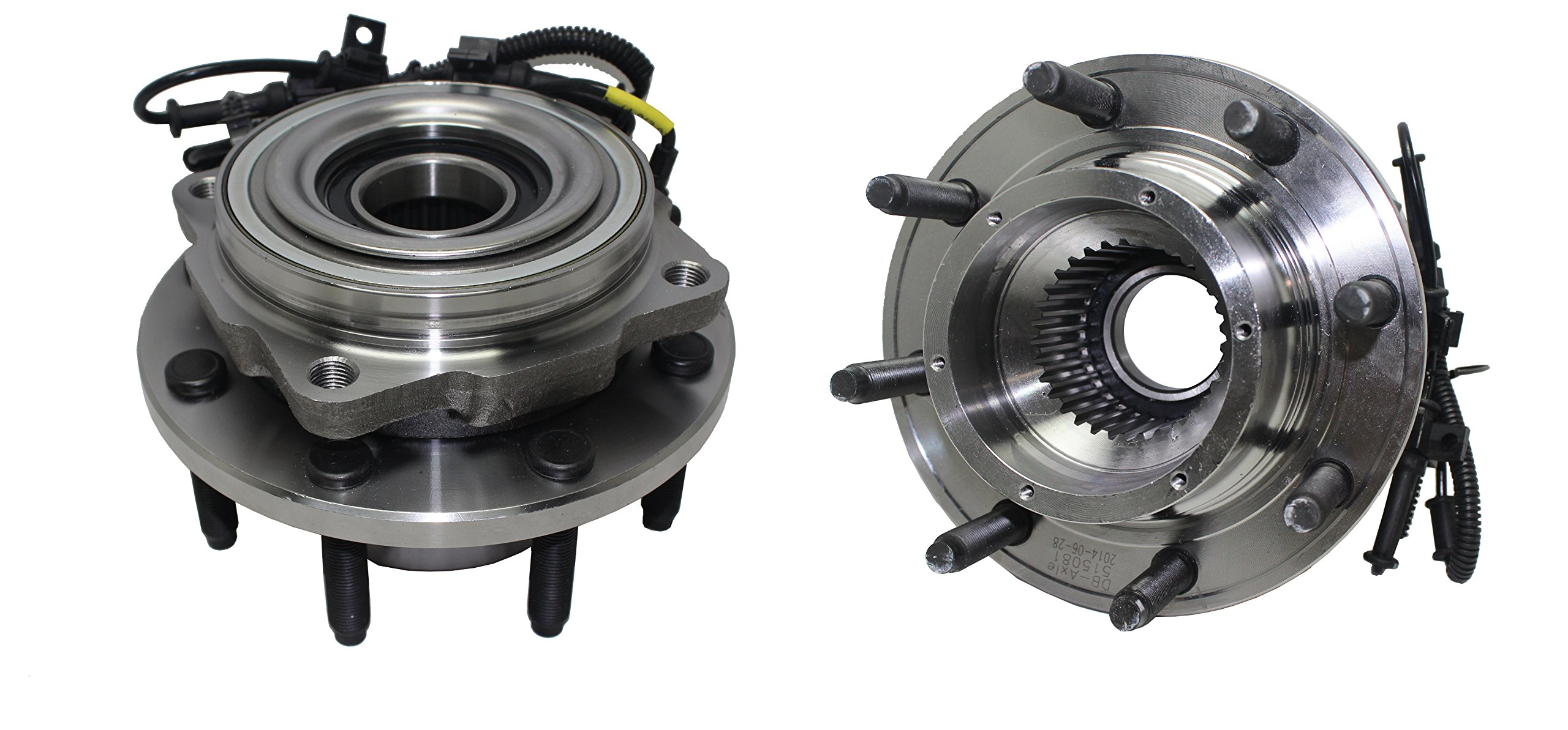 Brand New (Both) Front Wheel Hub and Bearing Assembly [SINGLE REAR WHEEL] F250/350/450/550 Super Duty Super Duty 4WD 8 Lug W/ ABS (Pair) 515081 x2 by Detroit Axle