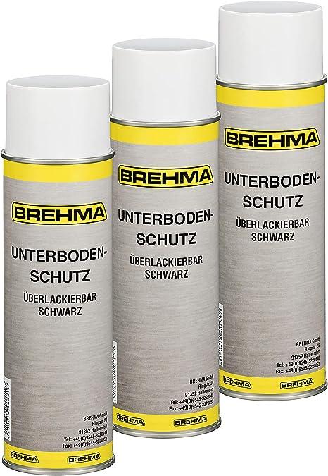 Brehma 3x Unterbodenschutz Steinschlagschutz Spray Schwarz 500ml überlackierbar Auto