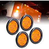 """4pc 4"""" Round Amber LED Trailer Tail Lights [DOT certified] [Grommet & Plug Included ] [IP67 Waterproof] Park Turn…"""