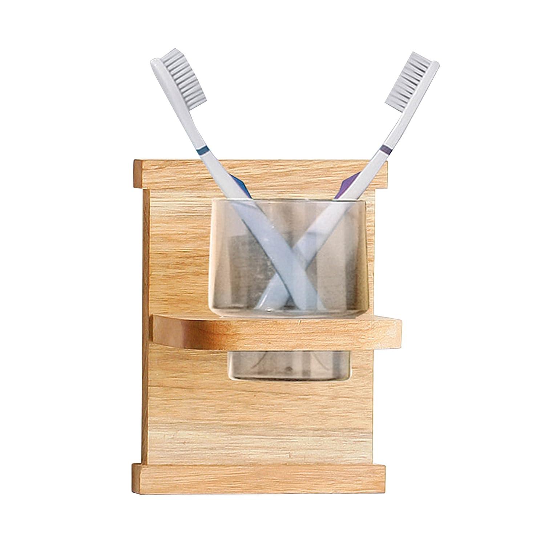 Premier Housewares Porta spazzolini tondo con supporto in noce, 17 x 13 x 10.5 cm 1600972