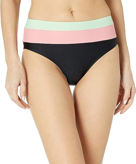 Splendid Womens Color Block High-Waist Bikini Bottom