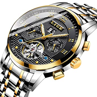 c5b139d4f Watches Men Fashion Business Waterproof LIGE Men Watch Dress Calendar  Mechanical EEN Watch Automatic Gold Black