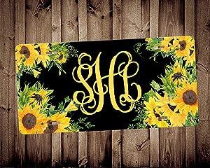 Sunflower Monogram Car Tag Monogram Car Tag Car Accessory Vanity Car Tag, Auto Decor, New Car Gift,Floral License Plate,Custom License Plate, 6