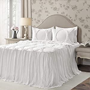 Lush Decor Lush Décor Riviera Ruffle Skirt Bedspread White Shabby Chic Farmhouse Style Lightweight 3 Piece Set Queen