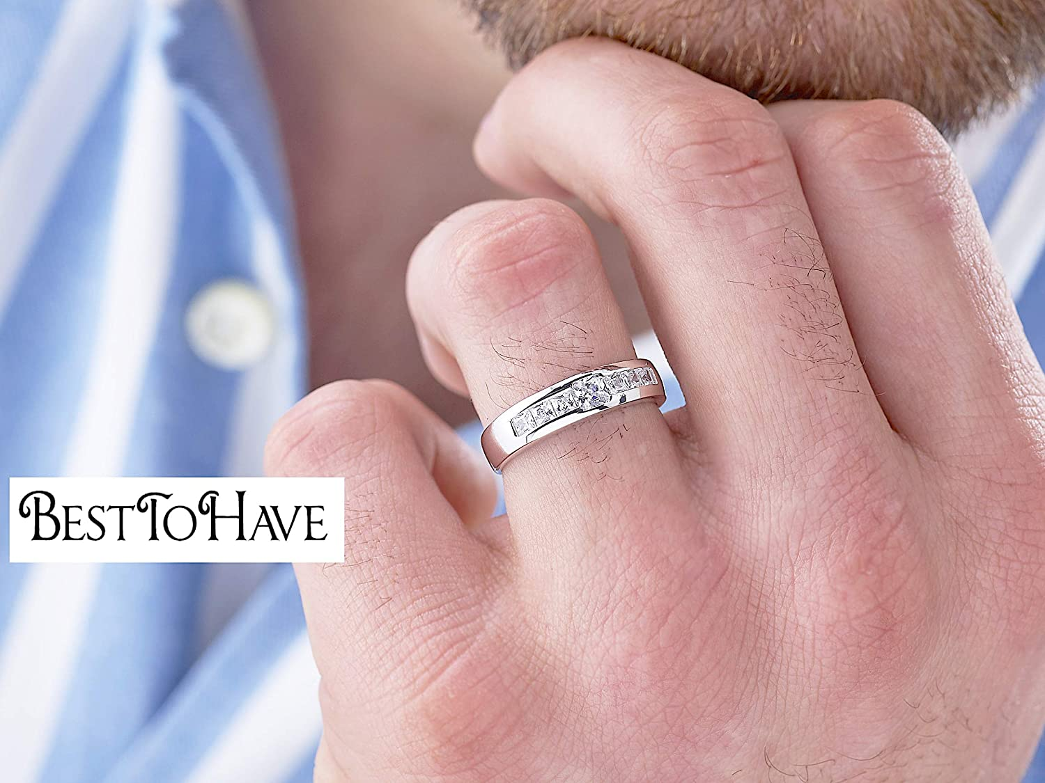 Available in Most Sizes BestToHave Mens Ring-Genuine 925 Sterling Silver with Simulated Dimonds Wedding Engagement Jewelry Unique Band Ring