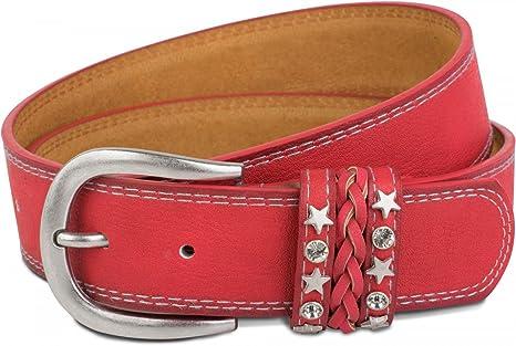 styleBREAKER cinturón en apariencia vintage de dos tonos con cinta decorada en el cierre, costuras ornamentales, remaches, estrás, reducible, unisex 03010062