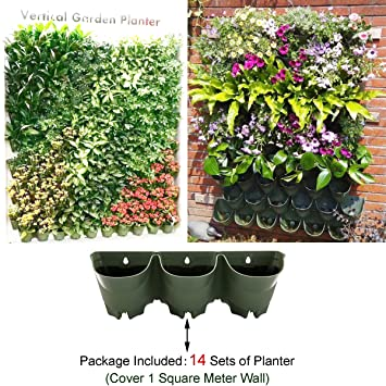 725187ed3923 14 Sets (11sq ft) Self Watering Vertical Hanging Planter,42 Pockets Total  Grow Pots,Green Living Wall ...