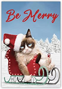 Meltelof Be Merry Garden Flag, Cat Merry Christmas Garden Flag, Kitten Lying on Sled Porch Décor, Winter Holiday Outdoor Home Decor -12x18 Inch Double Side