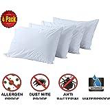 Standard 4 Pack Smooth Zippered Anti Allergy Dust mite Waterproof Pillow Protectors Premium Bed Bug Encasement Hypoallergenic Covers Quiet Cases Set White (4 Pack Standard, Smooth Waterproof)