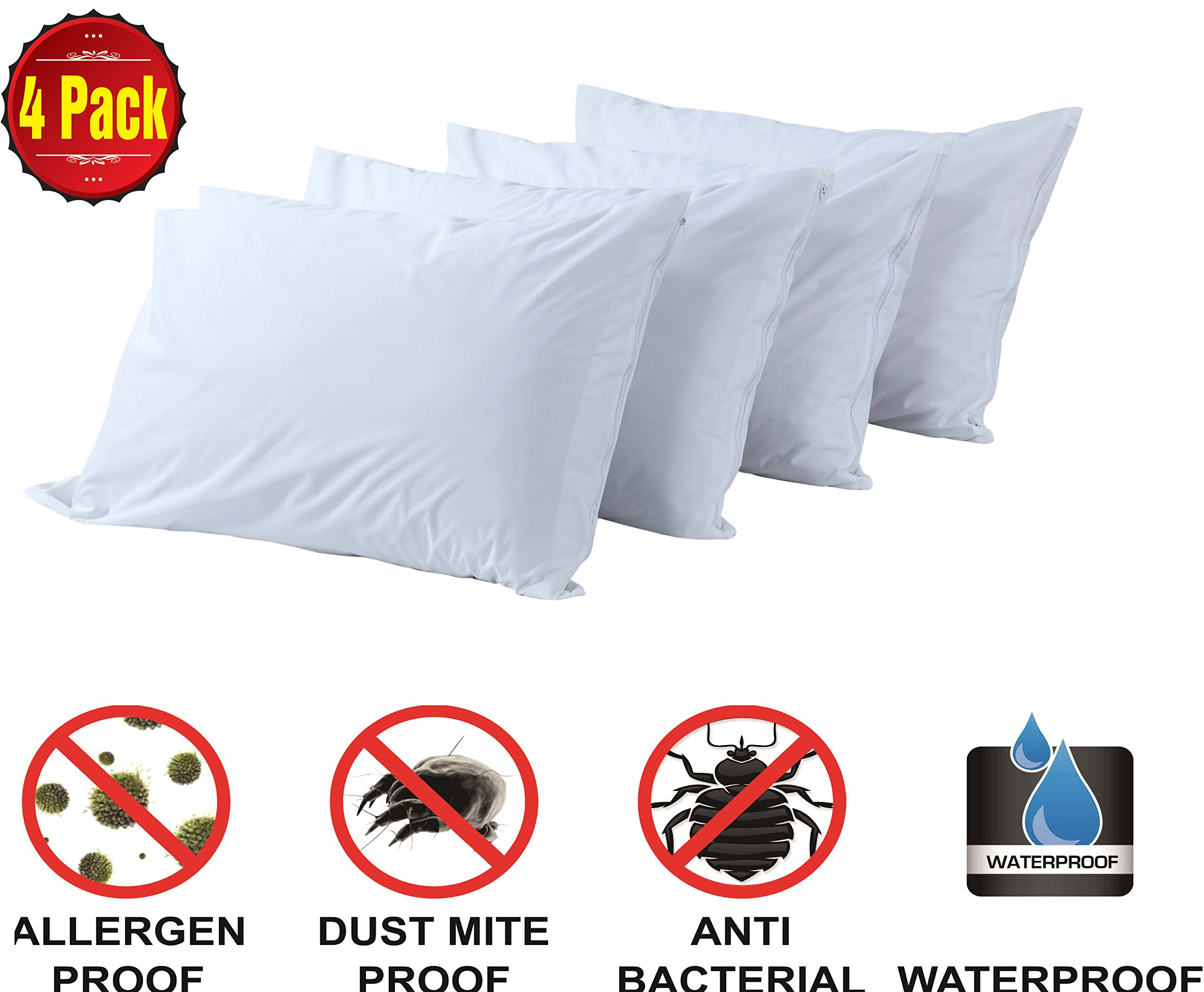 Pillow Protectors Standard 4 Pack 100% Waterproof Anti Allergy Bed Bug Dust Mite Proof Life Time Replacement Smooth Polyester Jersey Fabric Zipp Encasement Hypoallergenic Covers Cases Set White