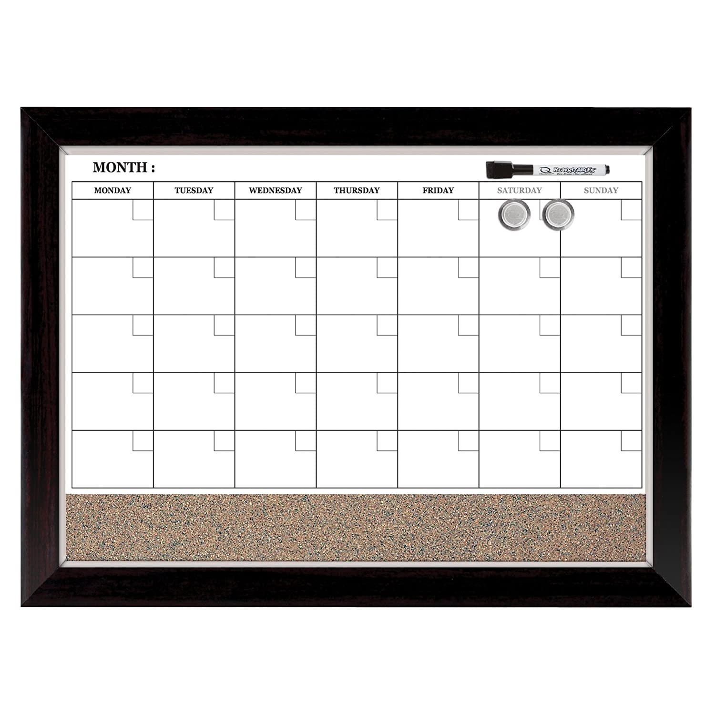 Quartet Magnetic Combination Calendar Board, Dry Erase & Cork, 23 x 35 Inches, 1-Month Calendar, Ebony Frame (79284) ACCO Brands