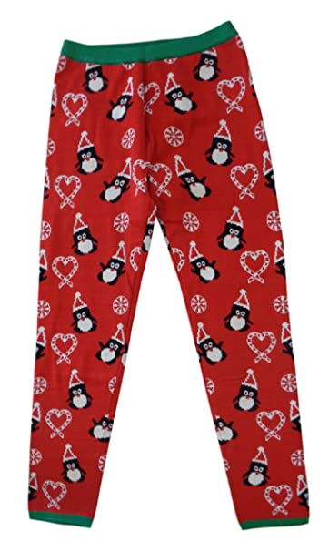 its our time girls christmas winter leggings large 14 penguin