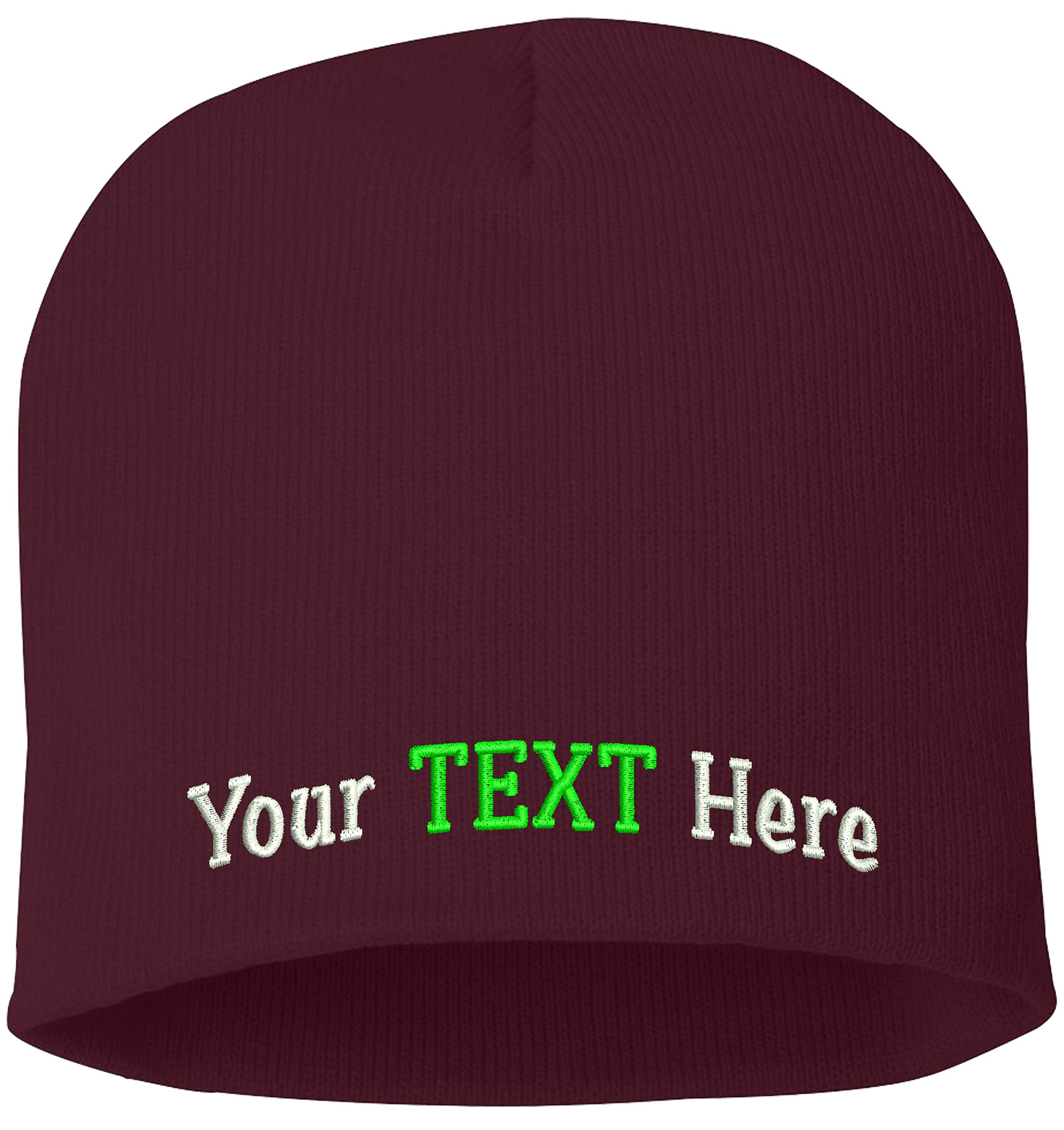 Peerless Skull Knit Hat With Custom Embroidery Your Text Here or Logo Here One Size SP08 (Maroon Knit W/Text, 6)
