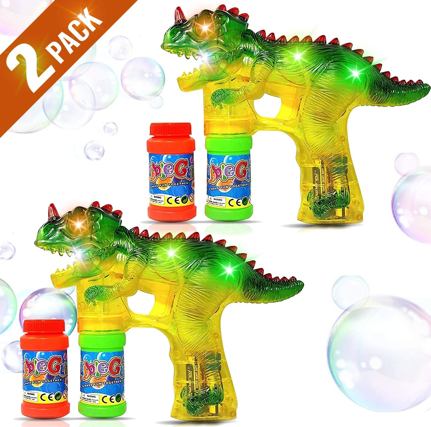 Haktoys Dinosaur Bubble Gun with LED Flashing Lights 2 Bubble Shooters, 4 Bottles Bubble Refill Solution and Batteries Included | Parent Friendly - Sound Free