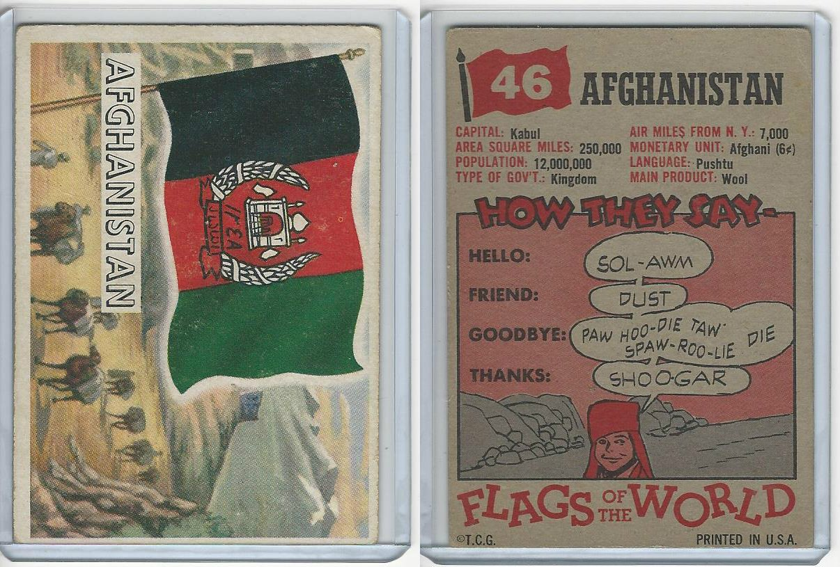 1956 Topps, Flags of the World, 46 Afghanistan at Amazon's