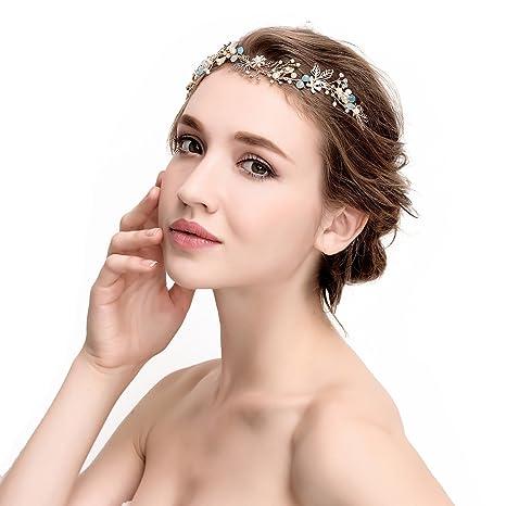 Awei novia impresionante tocados para bodas brillante dorado floral cintas  para el pelo novia jpg 466x466 458780d2b89d