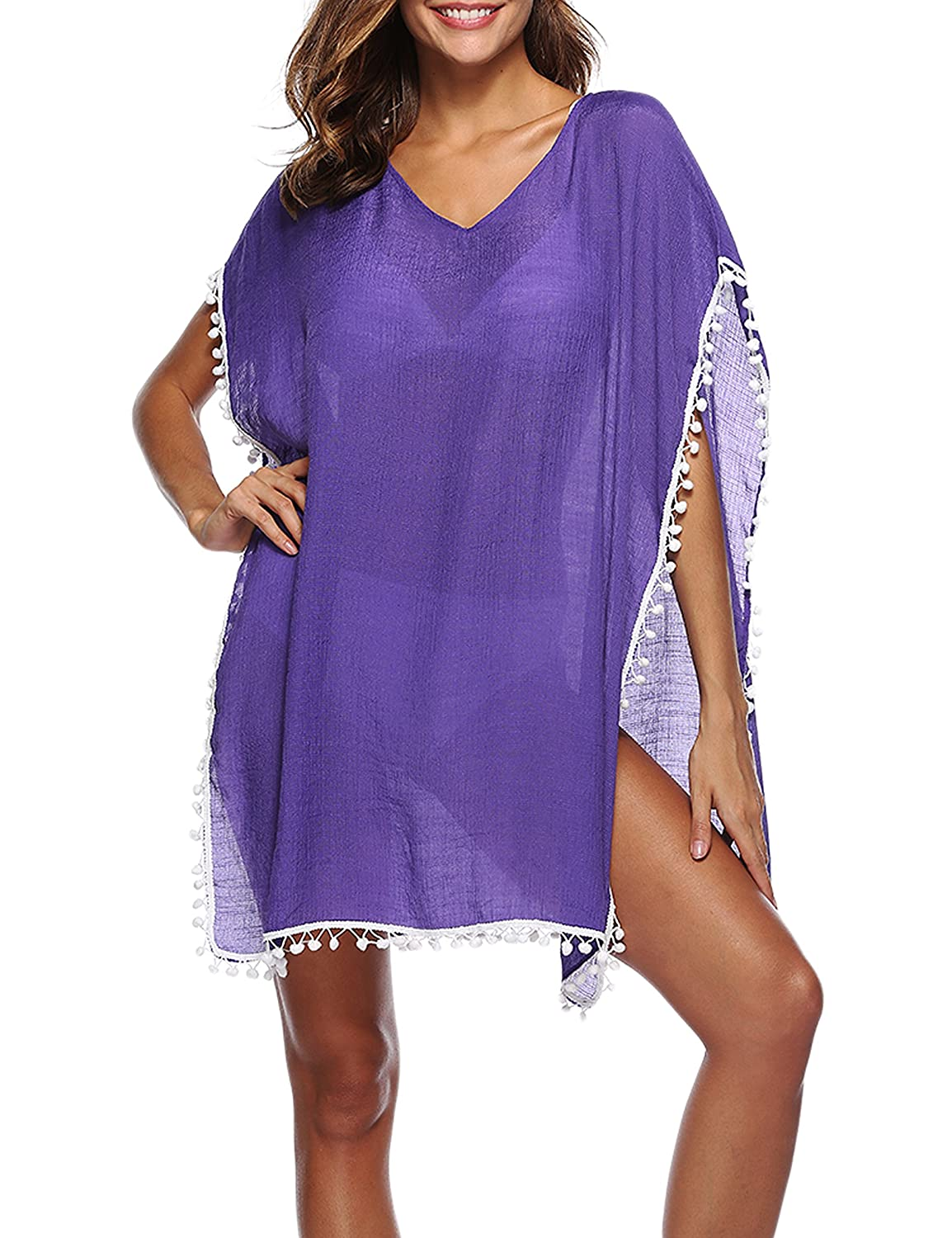 96b7976b31 FEATURE: Beach cover up, Wide sleeves, Sexy open slits up, Stitch irregular swimsuit  cover up, Wide bat sleeves, Tassel ball bathing suit cover-up, ...