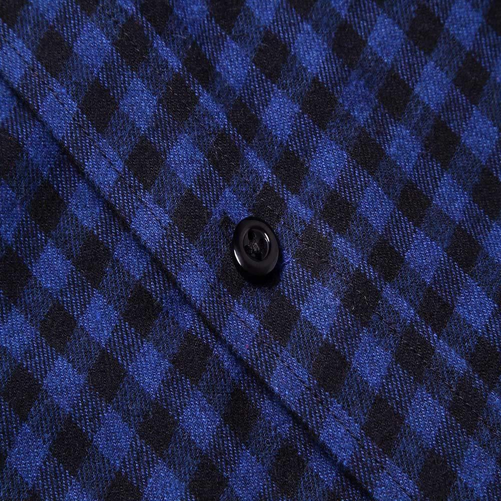 XIPENG Mens Plaid Shirt Long Sleeve Casual Dress Shirts 100/% Cotton Lightweight