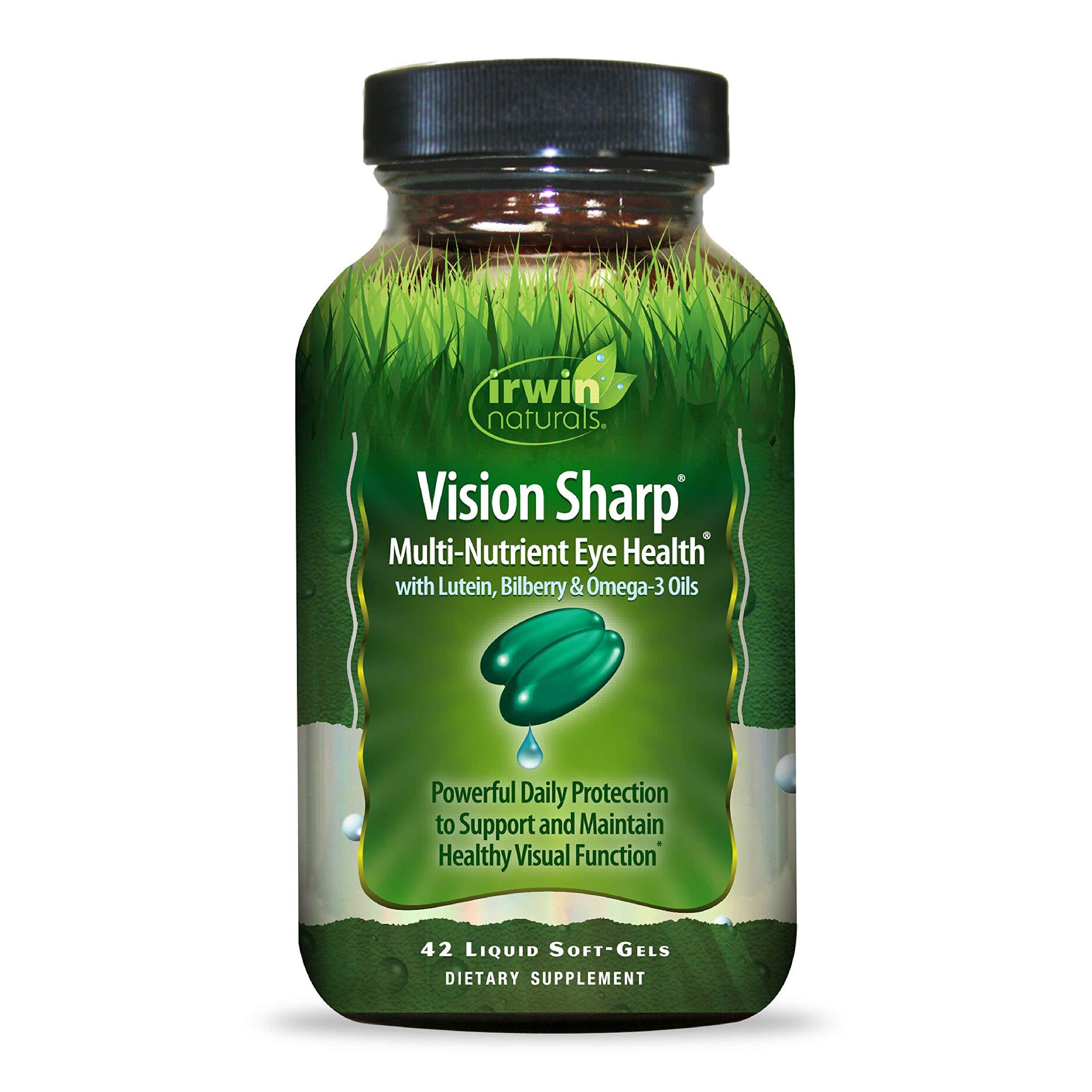 Irwin Naturals Vision Sharp Multi-Nutrient Eye Health with Lutein, Bilberry & Omega-3s - 42 Liquid Softgels by Irwin Naturals