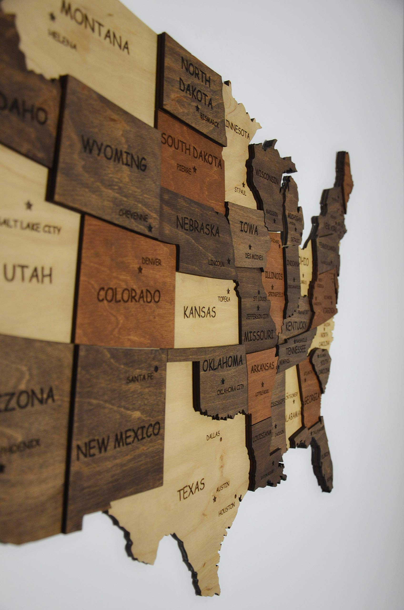 3D wood Map Of United States Wooden Wall Art Wooden Map Dorm